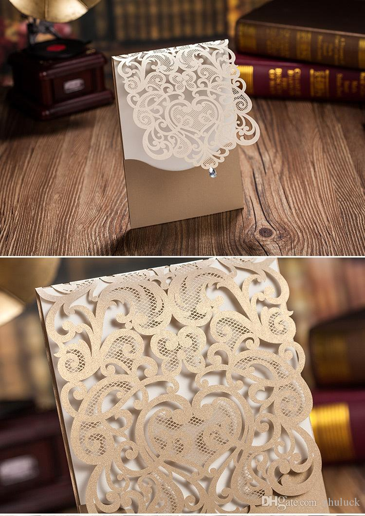 how much do invitations for wedding cost%0A Laser Cut Hollow Customized Wedding Party Invitation Cards Gold White Cover  With Water Drop Bead Decoration Cheap Diy Wedding Invitations Cheap Wedding