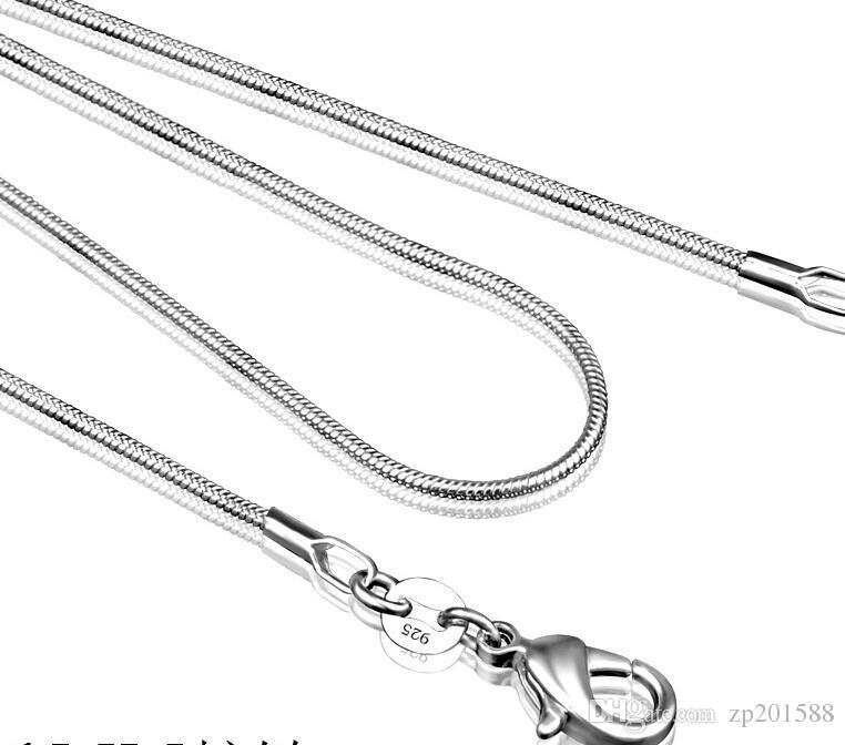 925 فضة الأفعى سلسلة قلادة للمرأة المشابك جراد البحر السلس سلسلة الأزياء والمجوهرات هدية الحجم 1 ملليمتر 16 18 20 22 24 بوصة