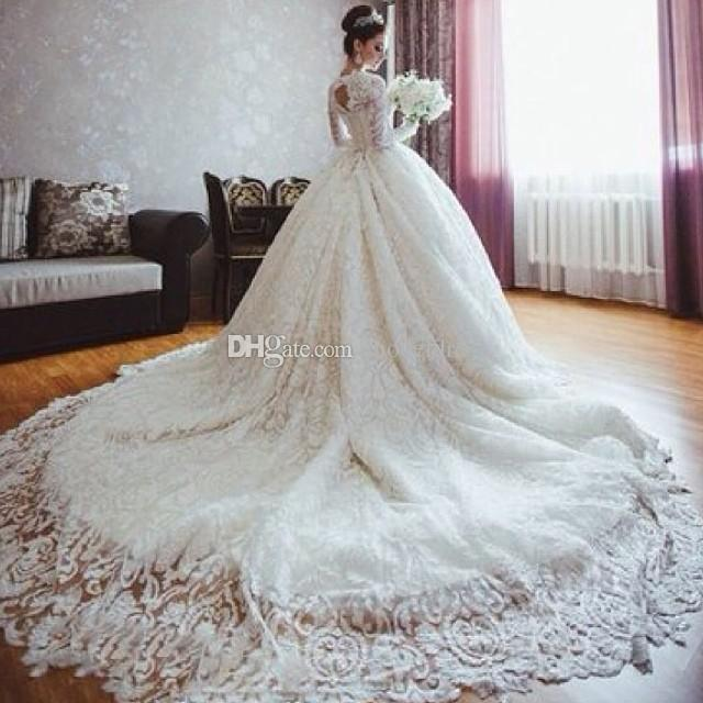 2017 New Luxury Lace Wedding Dresses Cathedral Train Long Sleeves ...