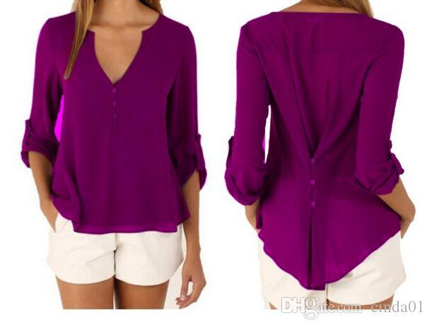 여성 플러스 사이즈 탑스 우아한 V 넥 캐주얼 패션 블라우스 긴팔 시폰 가을 겨울 티셔츠