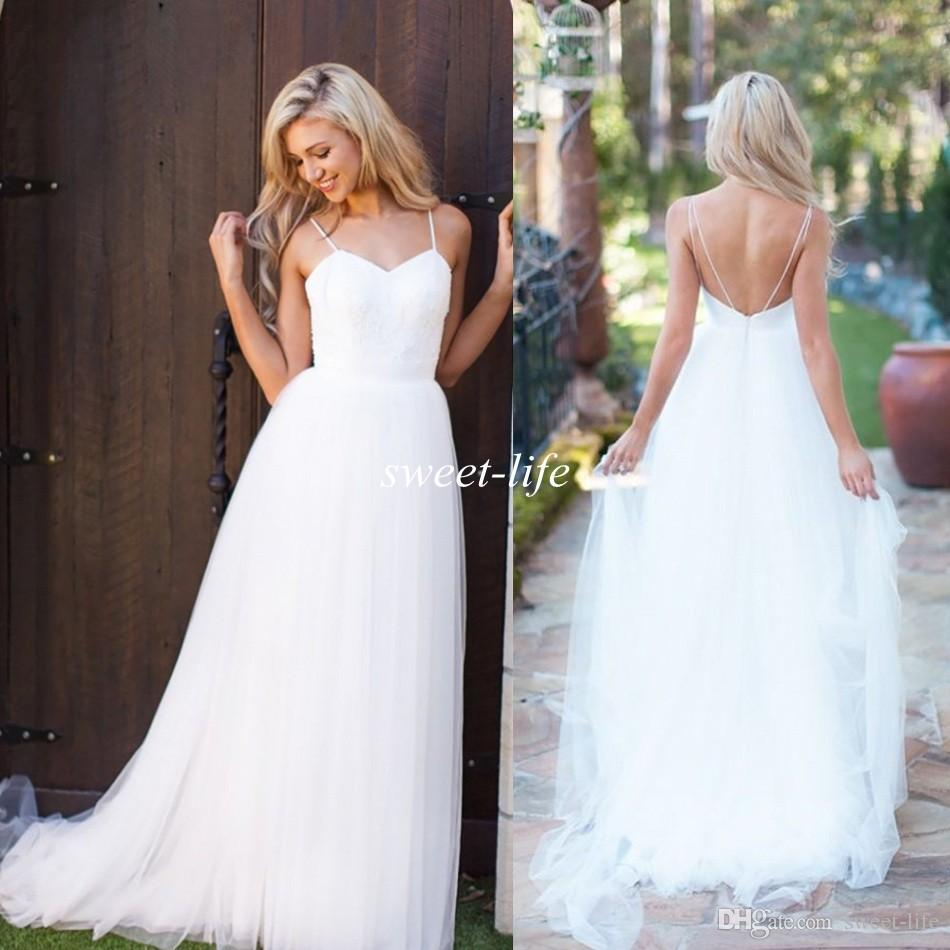 10e2adf690f Discount 2015 White Tulle Simple Wedding Dresses Cheap Sexy Lace Spaghetti  Straps Backless A Line Floor Length Boho Beach Garden Wedding Bridal Gowns  ...