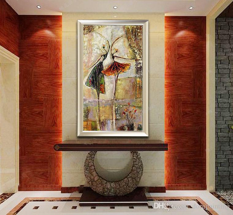 Peint à la main peinture à l'huile abstraite sur toile décoration de la maison ballet danseur oeuvre oeuvre photo décor peinture cadeau