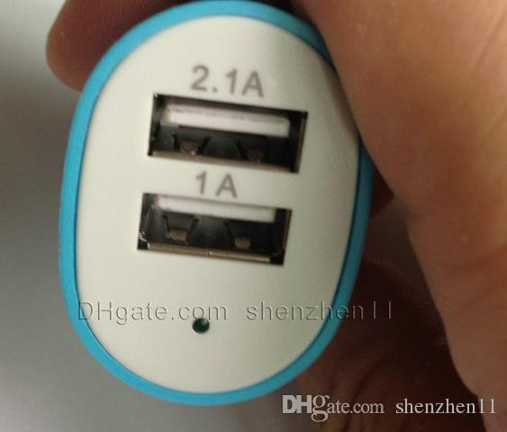 chargeur de voiture klaxon double ports adaptateur chargeur usb fit pour iphone 4 ipod tablette PC smart phone blackberry coloré chargeur mural CAB016