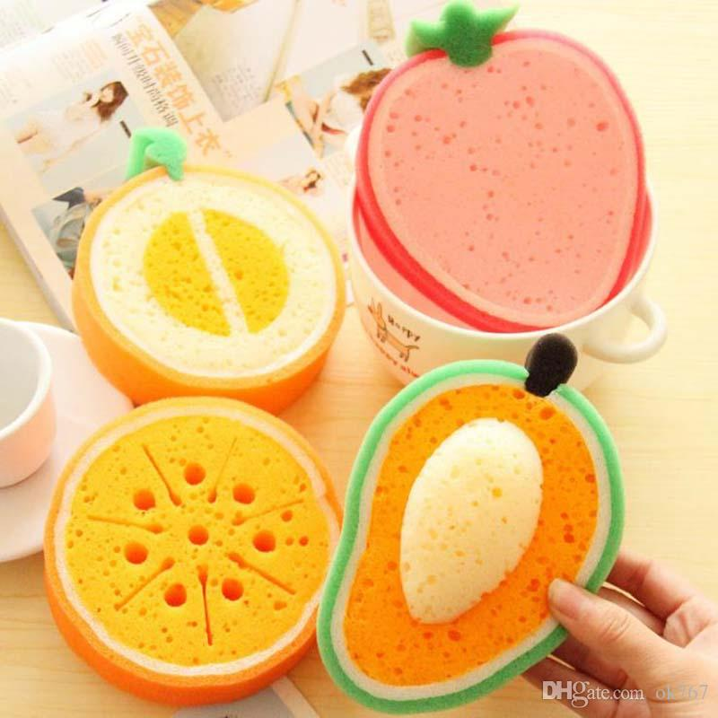 Cute Fruit Shape Microfiber Sponge Scouring Pad Cleaning Cloth Strong Remove Stains Thickened Sponge Kitchen Tools