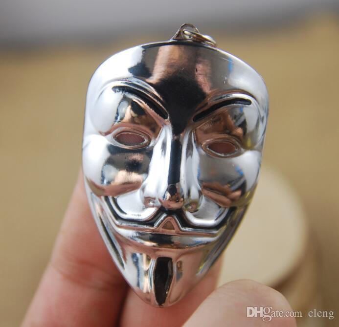 NEW Hot fashion Cartoon Game movie Key V for Vendetta hacker mask alloy keychain wedding favors keychain cc69