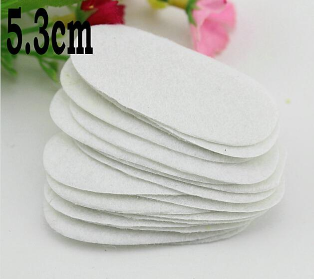 5%off 5.3cm white oval felt pad for fabric flower , non-woven rectangle fabric pads, DIY jewelry accessories