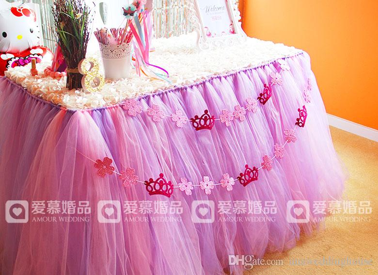 Colorful Wedding Tulle Tutu Table Skirt 100 cm *80 cm Princess Baby Shower Light Pink purple Mix Birthday Party Table Skirt
