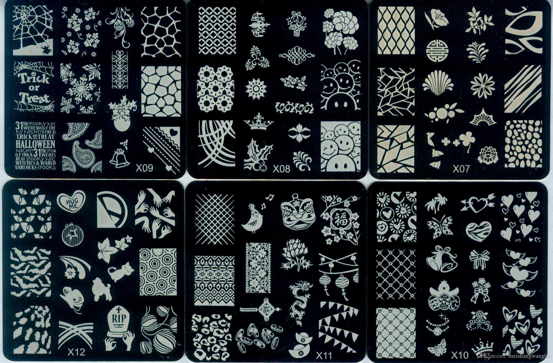 Ногтей штамповка пластины квадратный французский дизайн 24 шт. / лот 24 стили X ногтей штамп изображения шаблона плиты из нержавеющей стали 62 * 62 мм X1-24