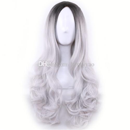Peluca Cospaly larga y barata Peluca Harajuku Lolita Peluca negra Ombre Gris Onda corporal Mezcla de cabello sintético Pelucas de color para mujer Peluca sintética