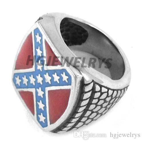 Kostenloser Versand! Classic American Flag Ring-Edelstahl-Schmuck Mode Red Blue Stars Motor Biker Mann-Ring SWR0270HB