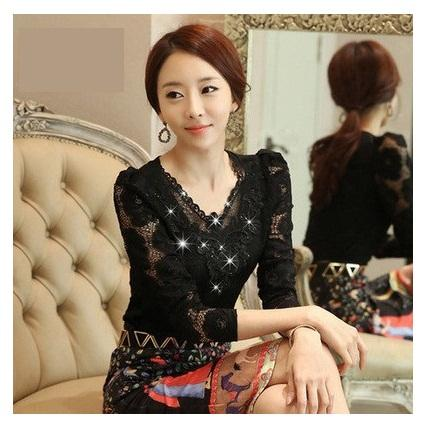2015 Blusas Autumn Slim Long-sleeve Shirt Floral Lace Tops Diamond Stitching  Women Lace Blouse Plus Size Clothing 852E 25 Women Lace Blouse Online with  ... e279ebc73167