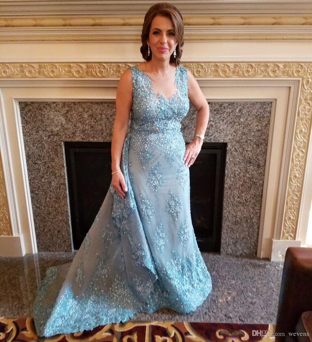 Simple Wedding Dresses Montreal: Elegant Light Sky Blue Beaded Mother Of The Bride Dresses