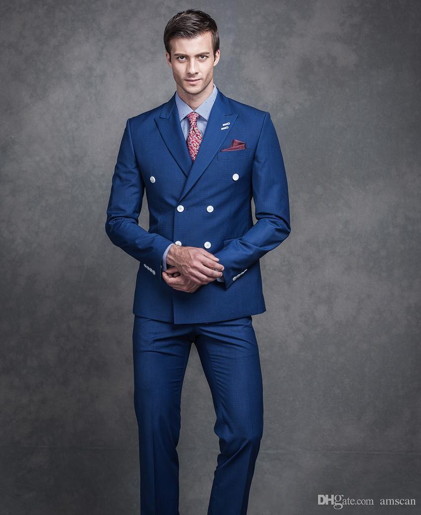 Acquista New Fashion Double Breasted Peaked Risvolto Uomo Abiti Da Sposa  Slim Fit Smoking Dello Sposo Groomsmen Mens Abiti Custom Made 2 Pezzi Set  Uomo Suit ... d778f87de36