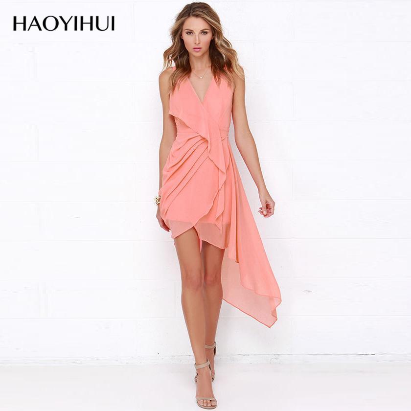 Haoyihui New Design Short Front Long Back Dress Sleeveless Summer ...