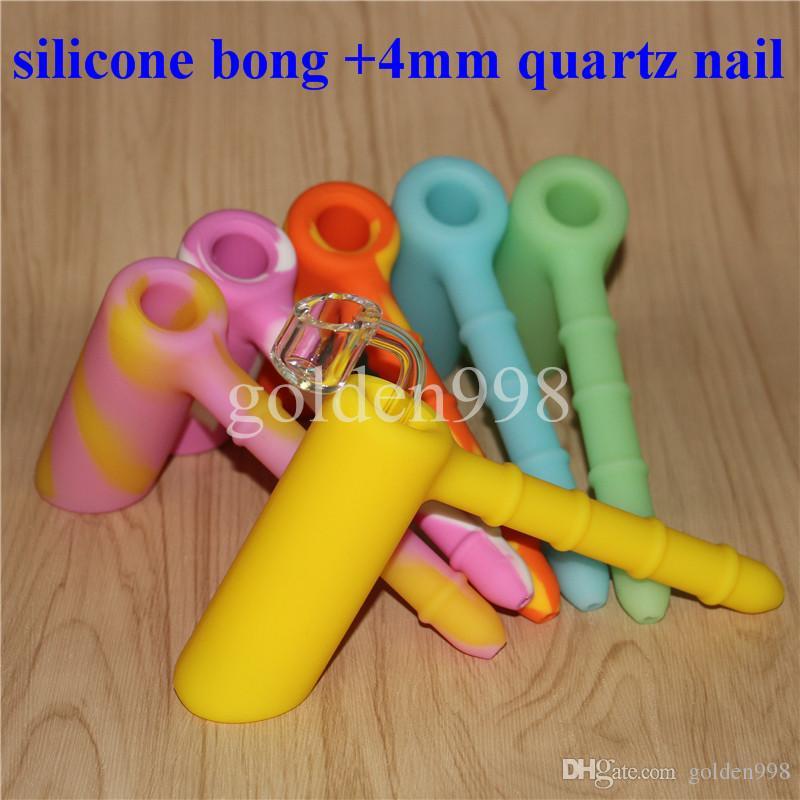 vendita all'ingrosso Silicone Rigs Silicone narghilè Bong silicone bubbler bong con Clear 4mm 18,8 millimetri unghie quarzo maschile