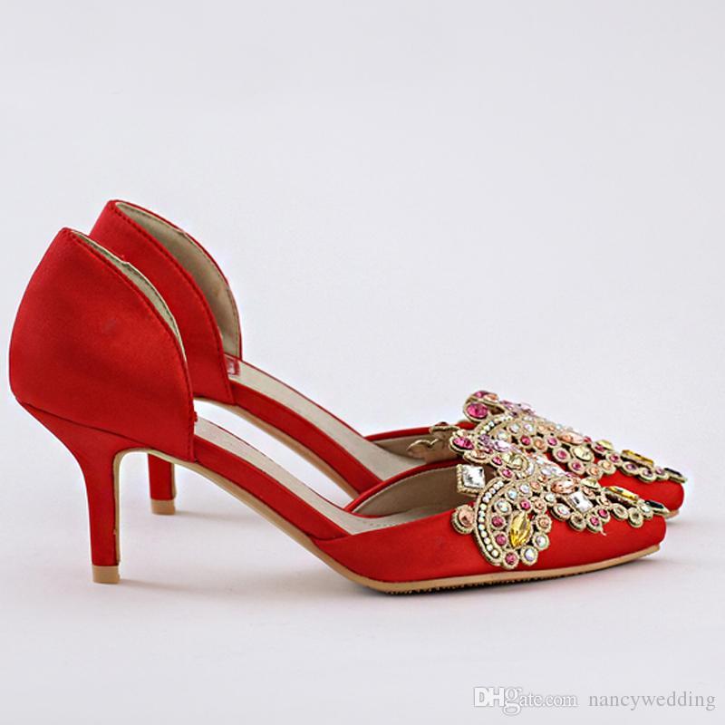 Red Satin Brautschuhe mit Strass Crystal Medium Heel Party Schuhe Vogue Abendkleid Schuhe Handamde Abendkleid Schuhe