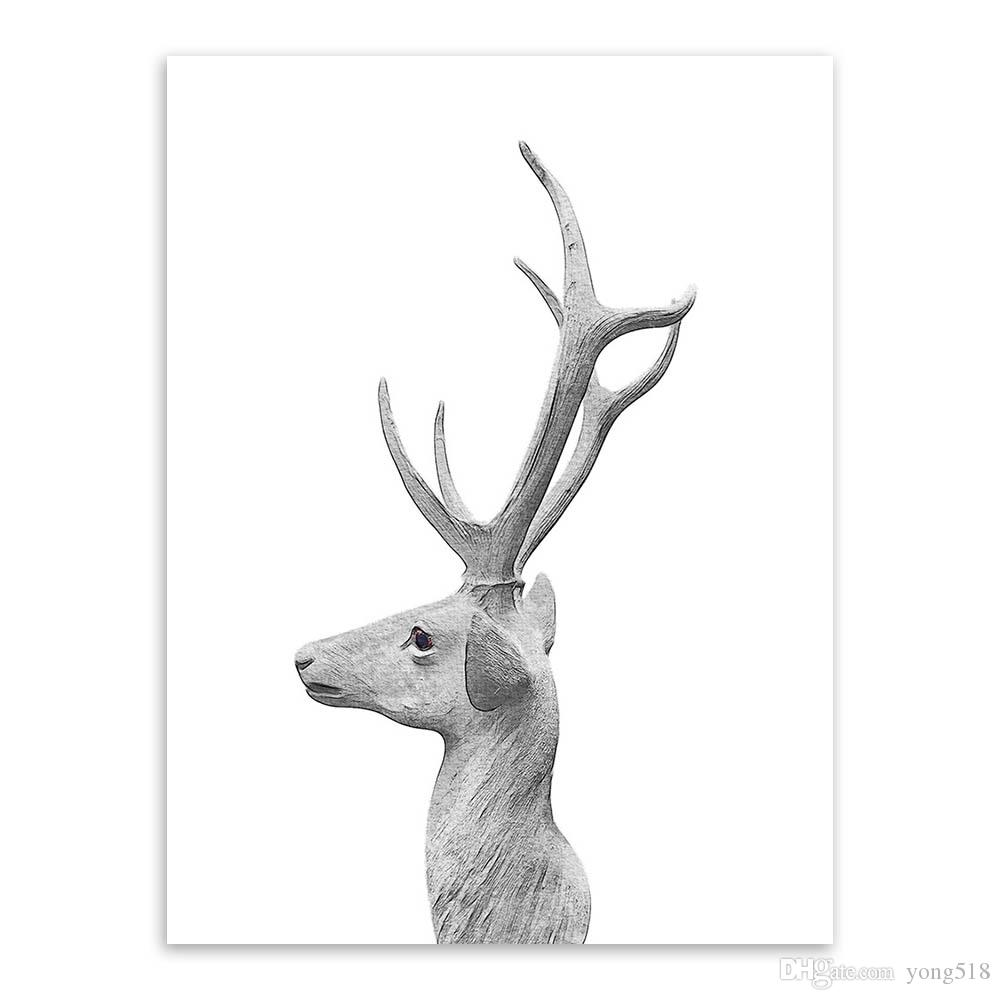Nordic Vintage Retro Animal Deer Head Poster A4 Big Wall Art Canvas Painting Print Picture Modern Living Room Home Deco No Frame