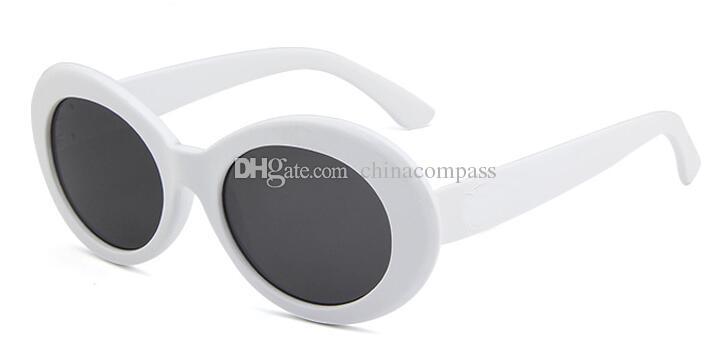 Nüfuzunun gözlük NIRVANA Kurt Cobain gözlük klasik Vintage Retro Beyaz Siyah Oval güneş gözlüğü Alien Shades güneş gözlüğü Punk Rock gözlük