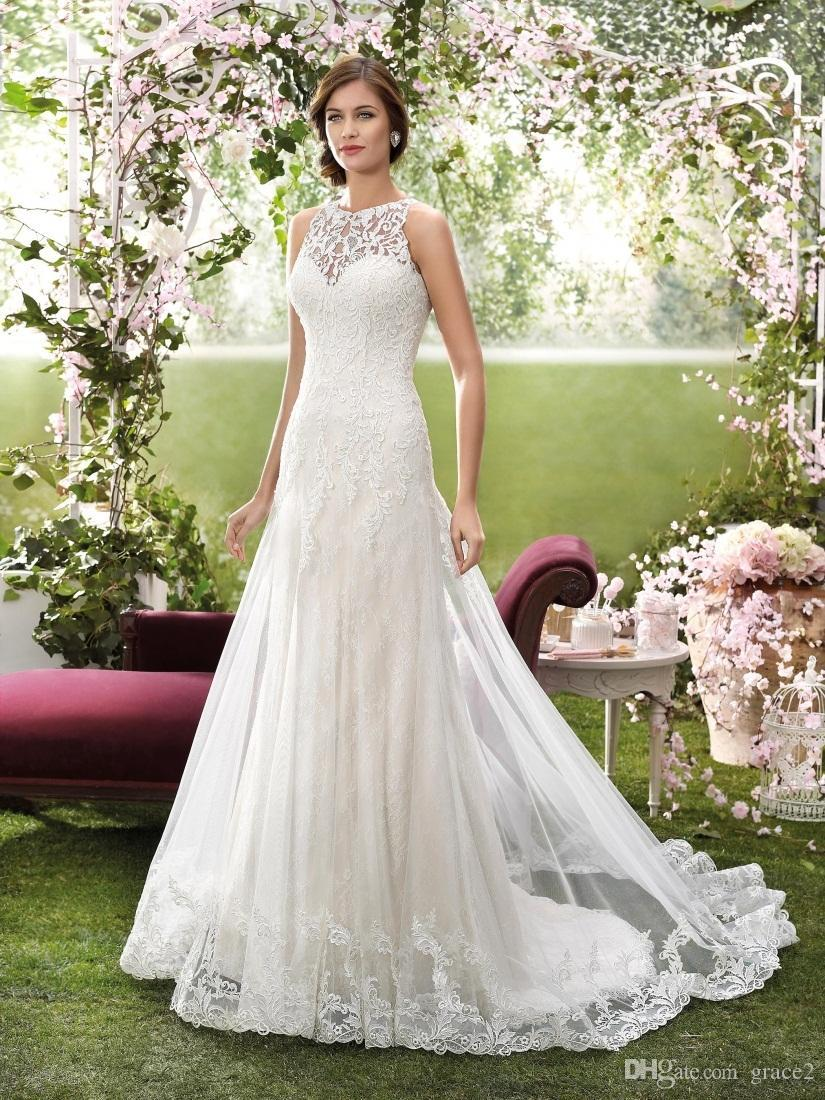 2016 designer wedding dresses by novia d high neck appliqued