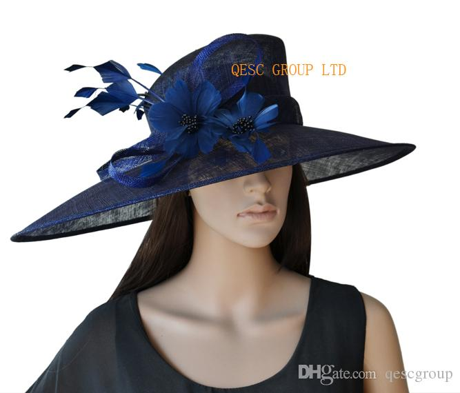 72f150afbdb Navy Blue X Large Sinamay Kentucky Derby Hat With Feathers Flower For  Church Wedding Races.Brim Width 19.5cm Black And White Hats Edwardian Hats  From ...