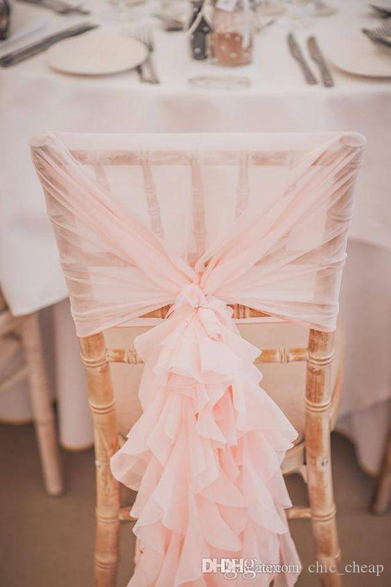 In Stock 2017 Blush Pink Ruffles Chair Covers Vintage Romantic Chair Sashes Beautiful Fashion Wedding Decorations 02