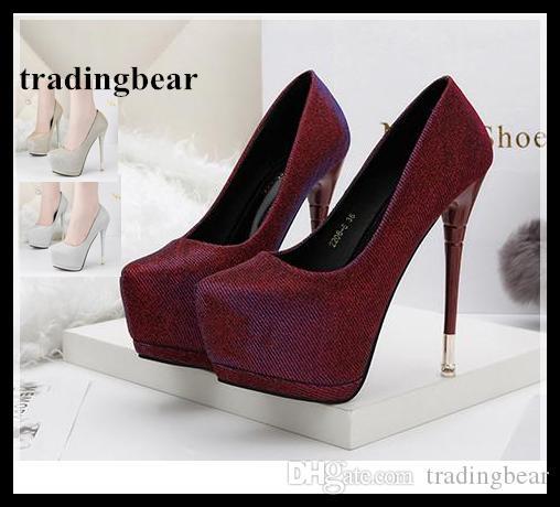 efc69dc111 Compre Senhoras Sensuais Sapatos De Grife Bombas De Plataforma De Salto  Alto Brilho Vinho Vermelho Sapatos De Casamento De Prata Ouro Prom Vestido  Vestido ...