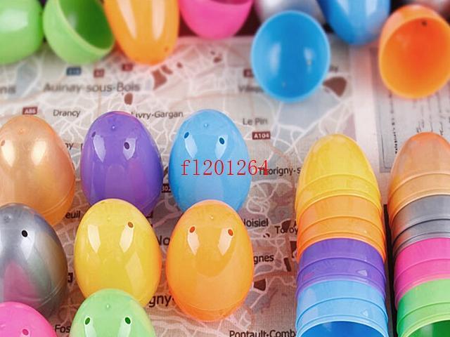 送料無料卸売イースターエッグイースタープラスチックイースターエッグミックスカラー、500ピース/ロットのための卵を装飾