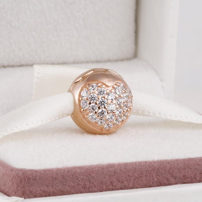 100% 925 Ayar Gümüş Gül Altın Kaplama Açacağı Kalp Klip Boncuk Avrupa Pandora Chamilia Takı Charm Bilezik Uyar