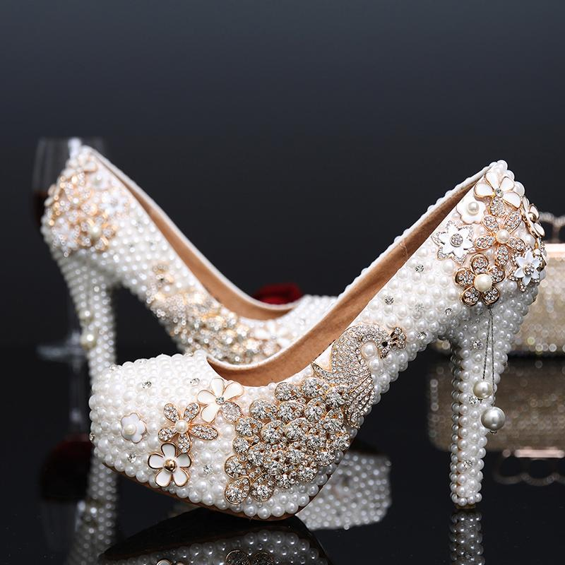 68f6b4556c82 Fashion 2016 Luxury Wedding Shoes With White Pearl Bridal Shoes With High  Heels Waterproof Phoenix Crystal Adult Ceremony Pumps Online Bridal Store  Payless ...