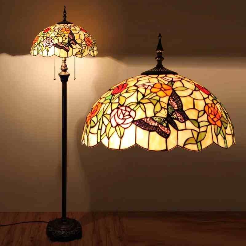 Gro handel elegantes butterful st nder licht buntglas rose butterful tiffany stehleuchte - Stehleuchte wohnzimmer ...