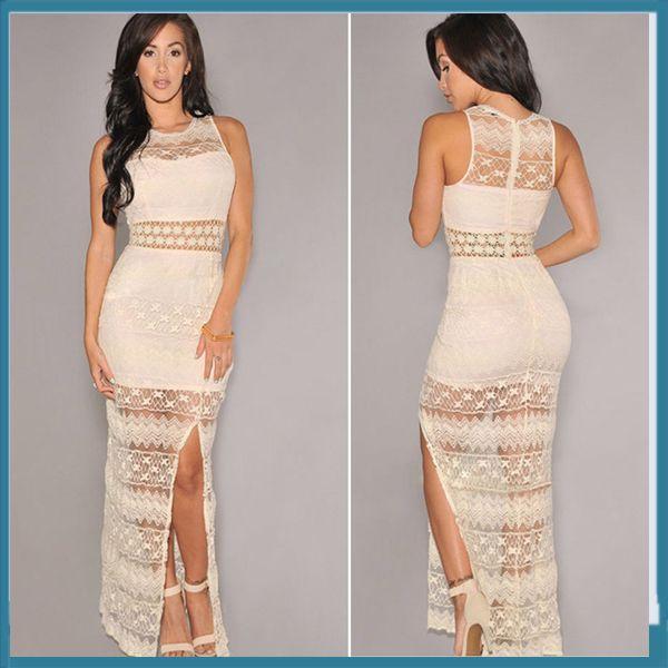 Großhandel Nude Farbe Rundhalsausschnitt Frauen, Figurbetontes Kleid ...