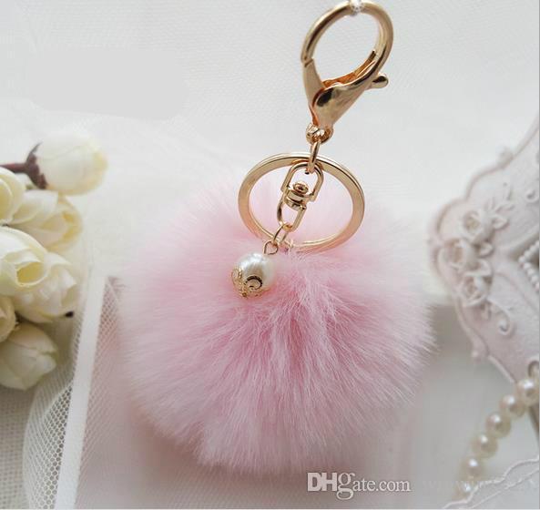 2021 귀여운 가짜 토끼 모피 공 봉제 키 체인 반지 가방 펜던트 자동차 키 체인