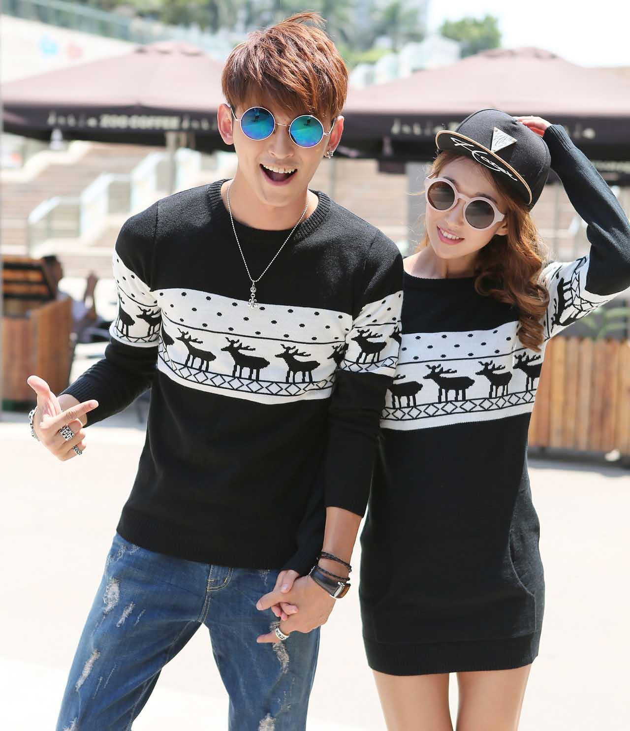 Best 2017 Men Sweater With Deer Print Couple Matching Christmas ...