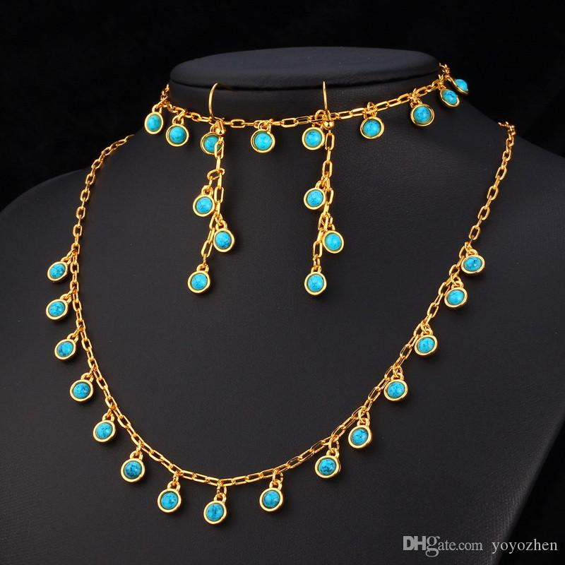 Natural Turquoise Turkey Stone 18K Gold Plated Costume Jewelry Sets