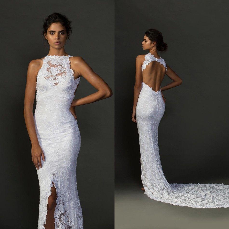 Sexy Halter Lace Keyhole Backless Mermaid Wedding Dresses
