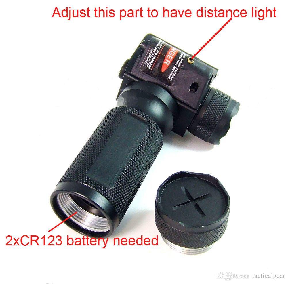 Linterna de caza táctica, vertical, con empuñadura delantera, CREE LED, con mira láser roja integrada para rifle