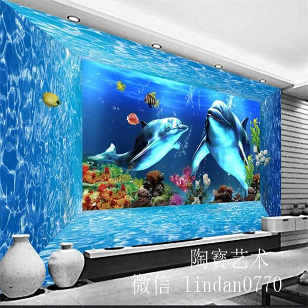 Dolphin Bathroom Tiles: 3D Tile Bathroom Floor Tile 3D TV Backdrop Theme