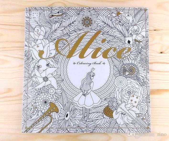 alice in wonderland 96 pages adult paper colouring book for kids adult creative therapy doodling drawing books adhesive binding free dhl picture to coloring