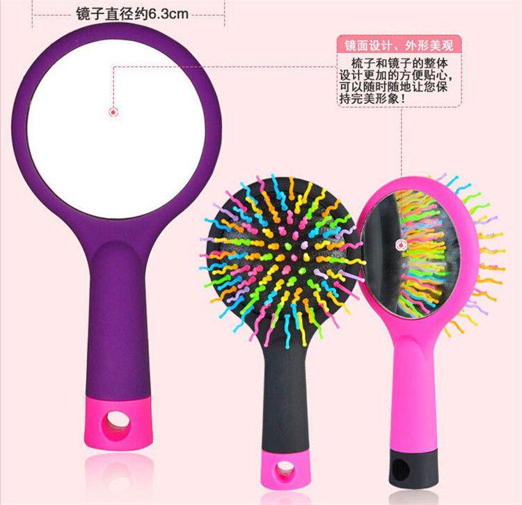Rainbow Volume Hair Brush Multi Color Magic Hair Styling Tool Hair Brush Comb With Mirror DHL