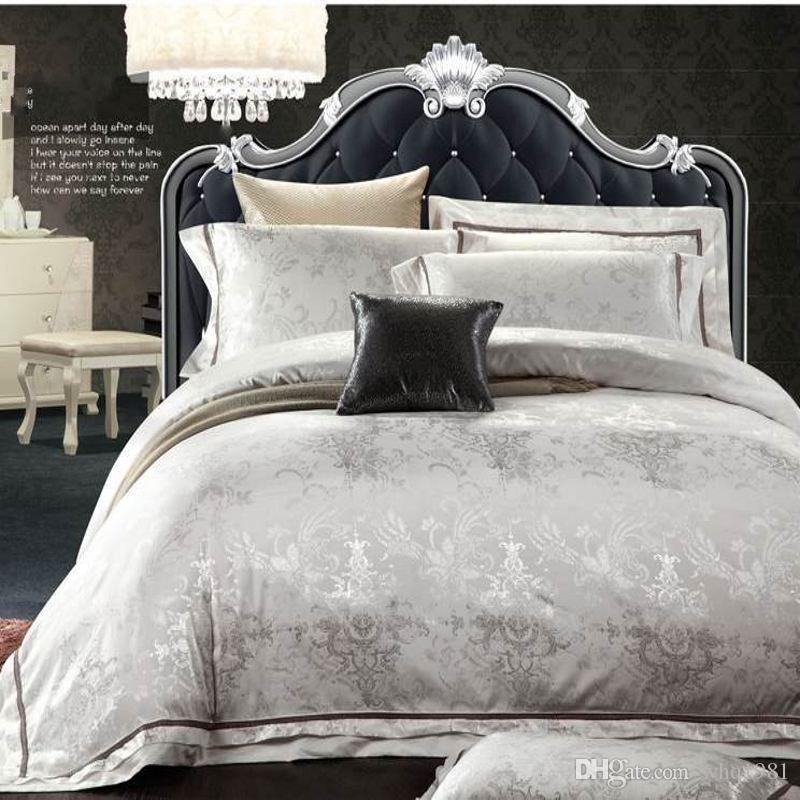 Luxury White Bed Linen Part - 33: European Style White Jacquard Silk/Cotton Bedding Sets Queen King Size  4/Noble Satin Bedclothes Duvet Cover Bed Linen Set Home Textile Modern  Duvet Pretty ...