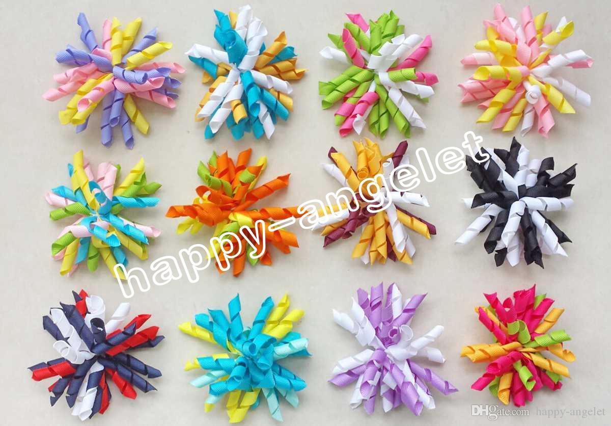3.5 Children S Curly Ribbon Hair Bows Clips Flowers Corker Barrettes Korker  Hair Bobbles Side Clip Hair Tie Accessories Kids PD007 Babies Hair  Accessories ... b7c1f5cf20b