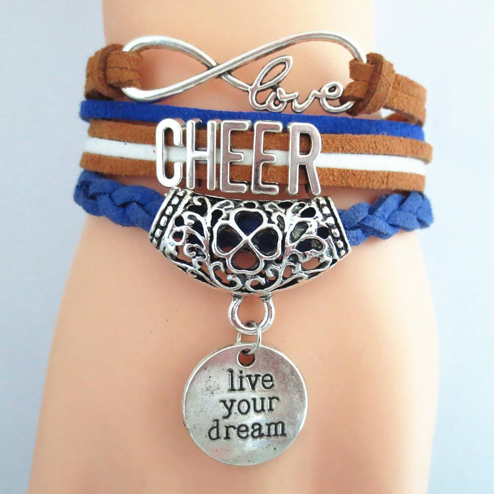 Hot Sale Fashion Infinity Bracelets Wish Love Cheer Charm Bracelets Wrap Bracelets Leather For Women