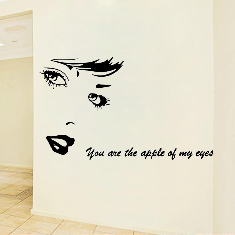 you are the apple of my eye beauty shop wall stickers love you are the apple of my eye beauty shop wall stickers love quotes decals diy art mural home bedroom barbershop room decor