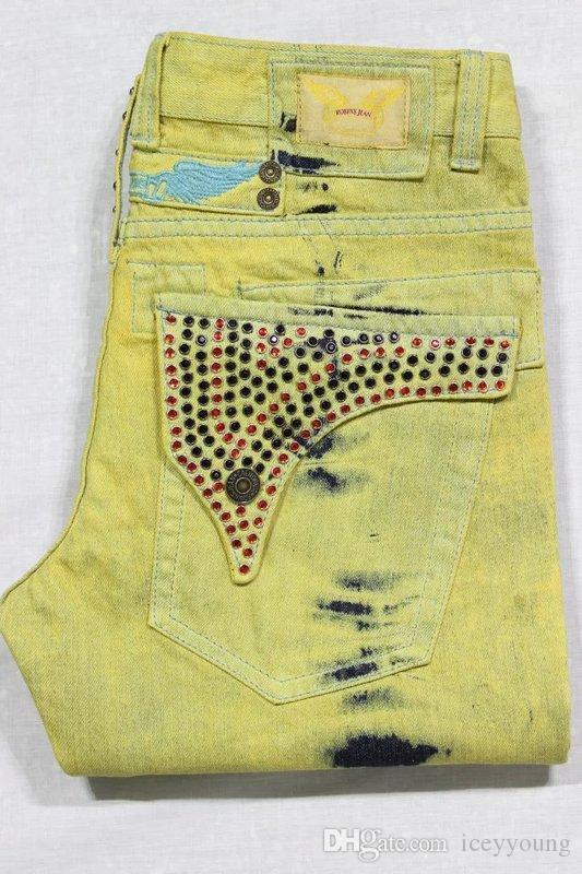 2016 Новая осень и зима черный и Красный Робин с блестящими камнями джинсы джинсовые регулярные прямые мужские брюки плюс размер 30-42 с высоким качеством