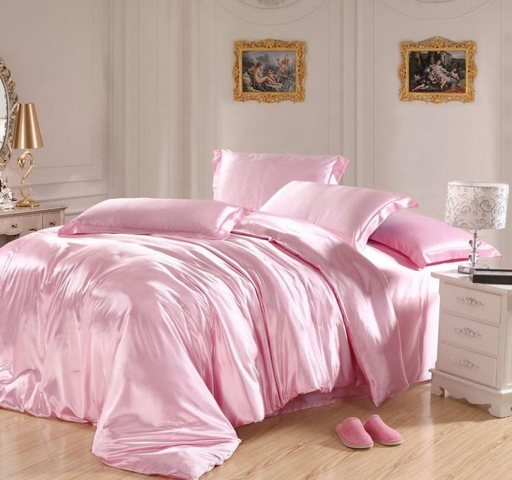 Light Pink Bedding Sets Silk Sheets Satin California King Size Queen