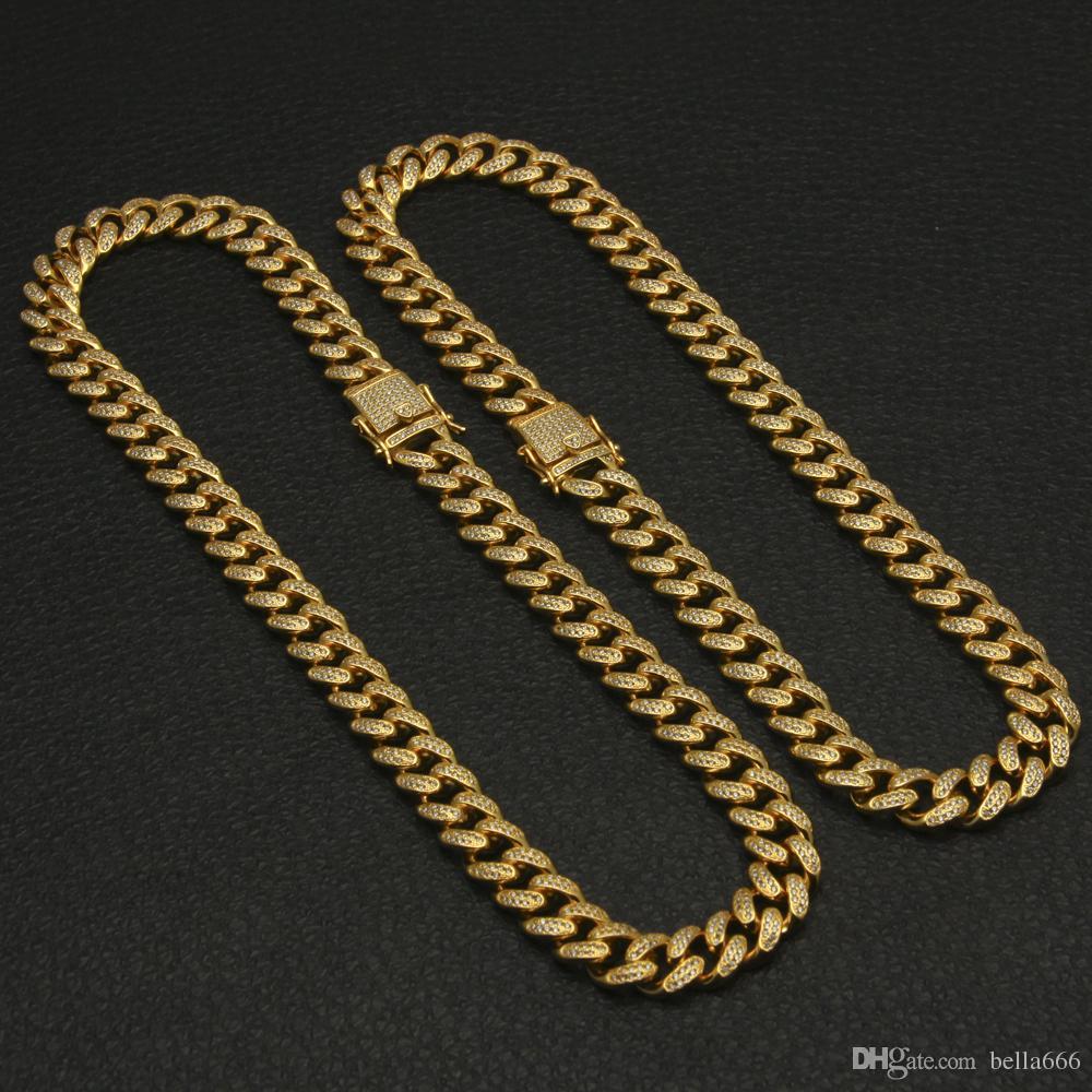 Uomini 13mm Larghezza Grande Catena Cubana 18 K Placcato Oro Hip Hop Full Bling Cubic Zirconia Collana Top Quality Triple Lock Collane Gioielli in Rame