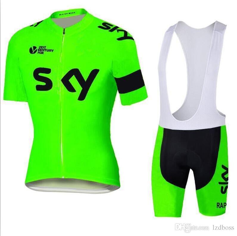 2016 Tour De France Team SKY Cycling Jersey Fluorescent Green Set Short  Sleeve Quick Dry Bike Wear Men Outdoor Cycling XS 4XL Cycling Jersey Design  Cycling ... 6f0a8f1be