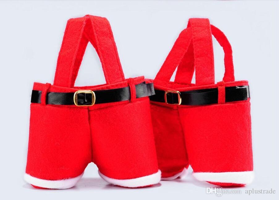 2015 Christmas Santa Pants Spirit Candy Bags Navidad Decoración Saco Cute Child Gift Bags Envío gratis