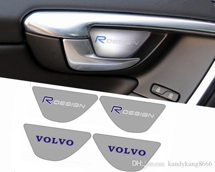 Volvo rdesign car door handrail stainless steel door bowl sill plate interior trim sticker s60 s60l v60 xc60 accessory car hood ornaments hood emblem car