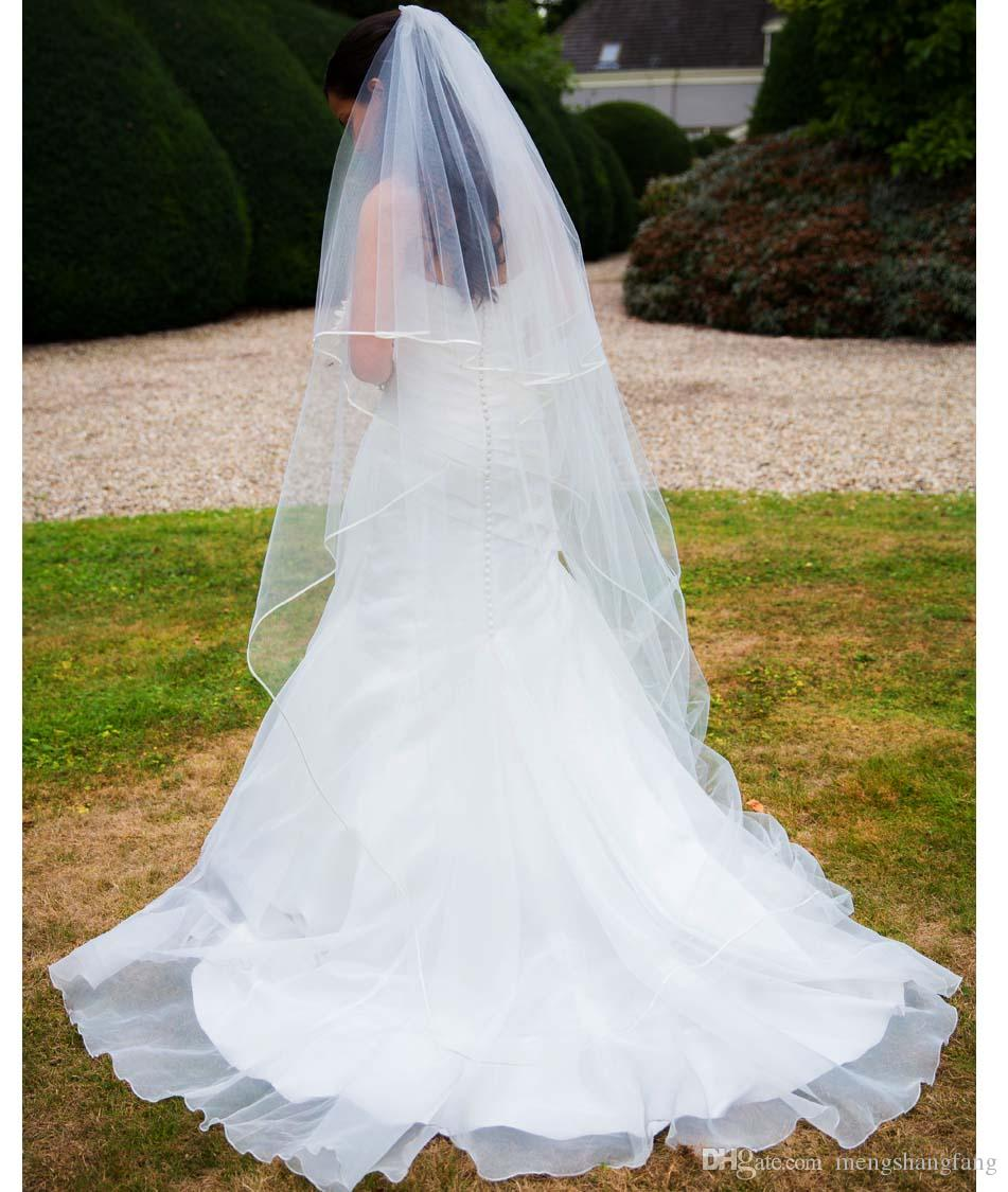 2 Layers Ballet Wedding Veil With Ribbon Edge Waltz 2 T Cover Face ...